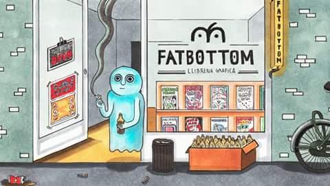 Uno de los personajes de mi querida Roberta Vázquez, en la puerta de Fatbottom. ¡Si vais no os perdáis sus cómics! <3