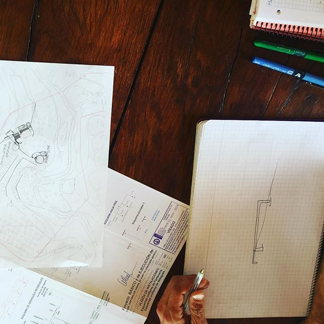 First meeting with designers / engineers for a possible natural swimming pool. We're talking rainwater catchment system, grey and black water use and drainage, irrigation for the trees and garden, fountains and streams - things are going to get crazy. #naturalswimmingpool #rainwatercatchment #crazyprojects #winterproject #whatsnext