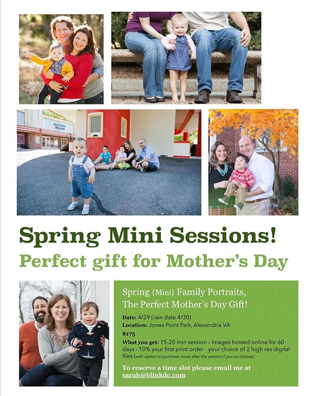 Spring {Mini} Family Portraits,  The Perfect Mother's Day Gift!  Date: 4/29 (rain date 4/30) Location: Jones Point Park, Alexandria VA $175 What you get: 15-20 min session - Images hosted online for 60 days - 10% your first print order - your choice of 2 high res digital files (with option to purchase more after the session if you so choose)  To reserve one of 6 available time slots, please email me at sarah@blinkdc.com