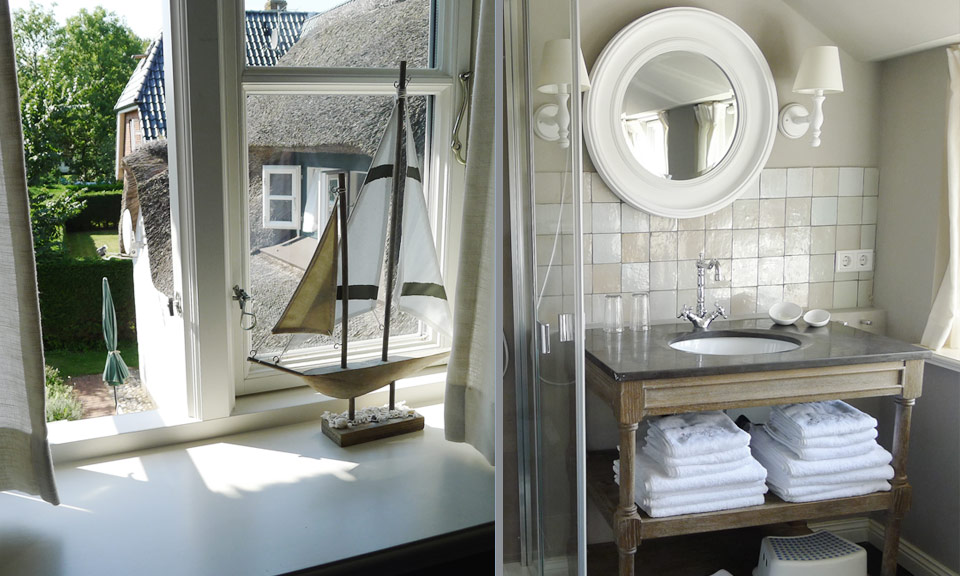 The light bathroom with its nautical details makes you feel at ease from the first moment on
