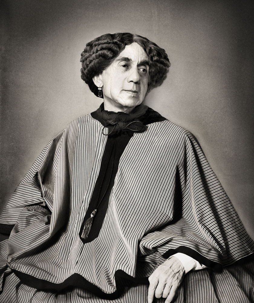 Copy of « Looking for the Masters in Ricardo's Golden Shoes #3 (Tribute to NADAR, George Sand, 1864) » by Catherine Balet