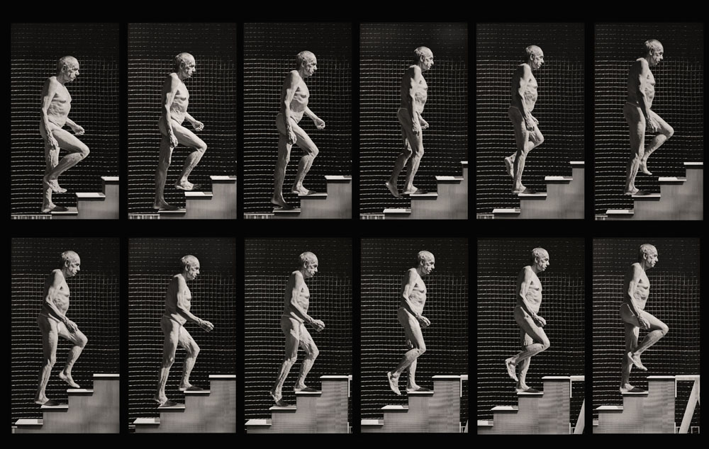 Copy of « Looking for the Masters in Ricardo's Golden Shoes #5 (Tribute to Edward MUYBRIDGE, Man ascending stairs, 1887) » by Catherine Balet