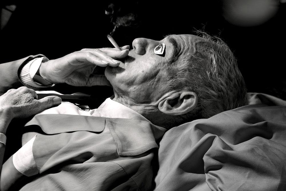 Copy of « Looking for the Masters in Ricardo's Golden Shoes #50 (Tribute to Lucien Clergue, Jean Cocteau à la cigarette, Les Baux de Provence, 1959) » by Catherine Balet