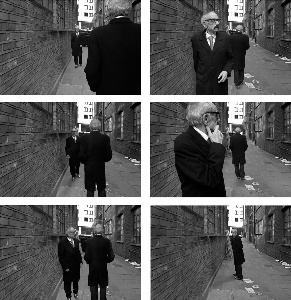 Copy of « Looking for the Masters in Ricardo's Golden Shoes #60 (Tribute to Duane MICHALS, Chance meeting, 1970) » by Catherine Balet
