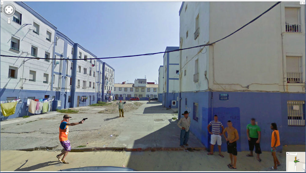 Copy of « Looking for the Masters in Ricardo's Golden Shoes #104 (Google Street photography) » by Catherine Balet