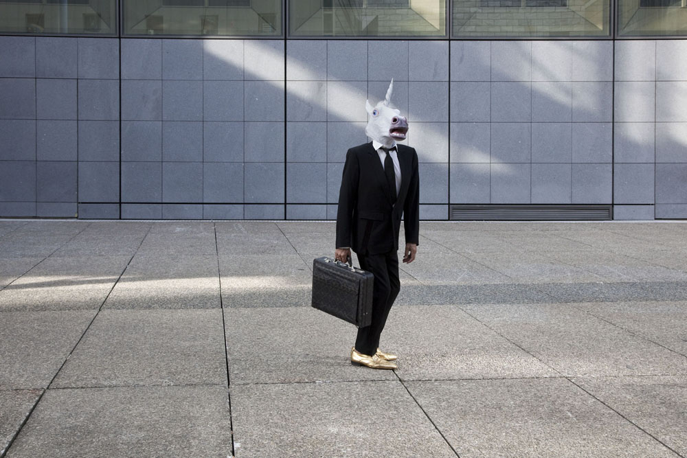 Copy of « Looking for the Masters in Ricardo's Golden Shoes #115 (Animal head mask trend) » by Catherine Balet