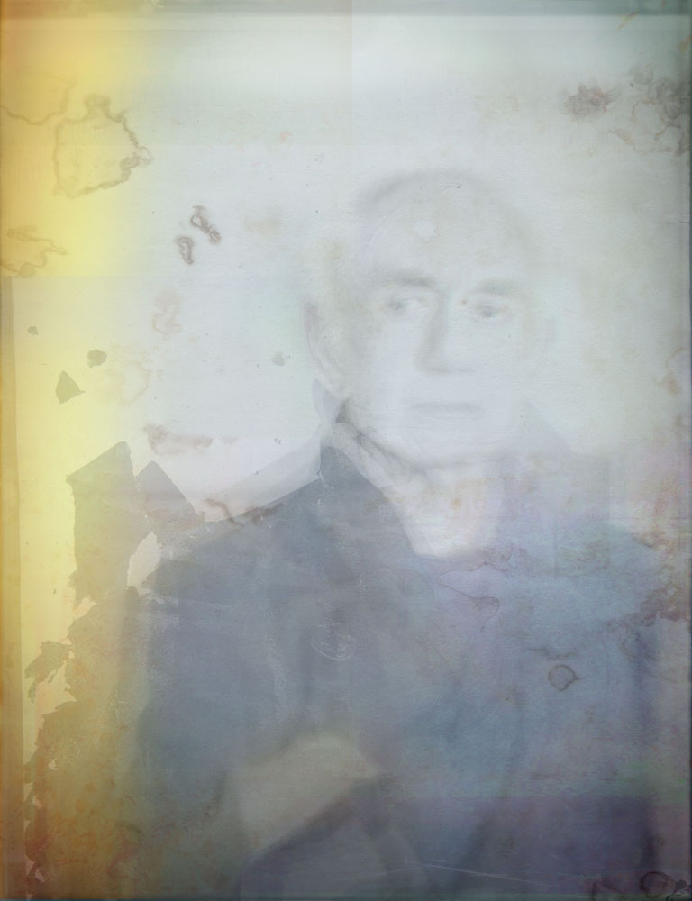 Copy of « Looking for the Masters in Ricardo's Golden Shoes #120 (Damaged vintage portrait trend) » by Catherine Balet