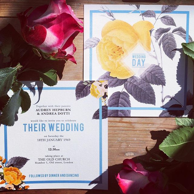 The Retro Blue Rose Invite
