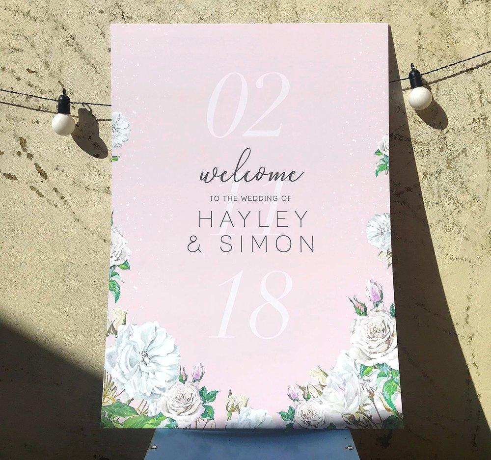 Pastel-pink-wedding-welcome-white-roses-cheltenham-theinkcloset.JPG