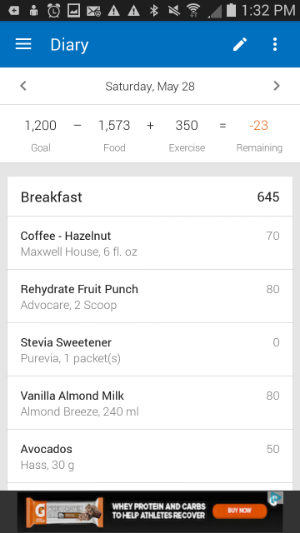 MyFitnessPal - This was one of those days that I allowed myself to go over my calorie count.