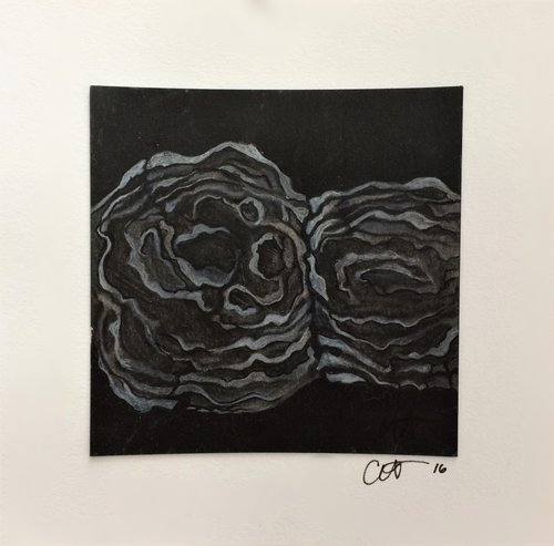"NATURE'S TOPOGRAPHIC   CHARCOAL WITH INK AND METALLIC PEN ON PAPER  CHECK""    $150"