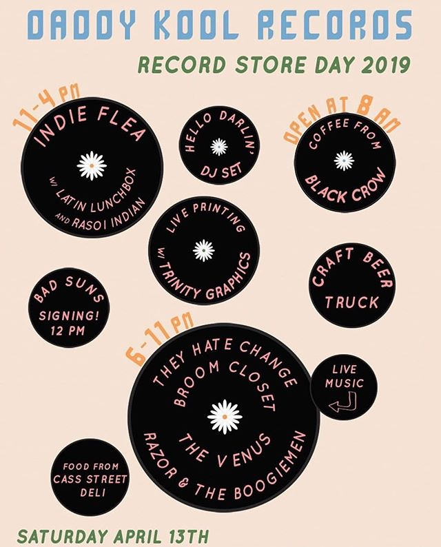 "This Saturday we are celebrating the re-opening of @daddykoolrecords along with Record Store Day! We will have a street festival of local makers, food and beer trucks, live music, dj sets and live printing of RSD tees with @trinitygraphics ⚡️! It's the ultimate ""support local, support small and support music"" saturday!  SATURDAY • April 13 • 11-4"