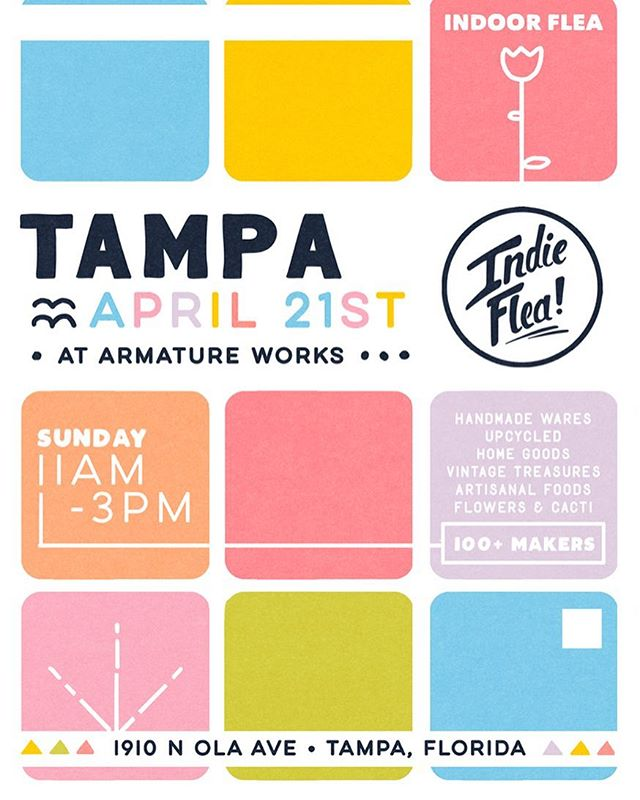 We hope you have your Easter Bonnet ready, cause this Sunday is our Tampa Flea! Come fill your Easter baskets with handmade goods from 100+ local makers. Make a day of it with brunch and cocktails at @armatureworks_tampa newest rooftop bar @m.bird_tampa and a stroll along Tamp's Riverwalk 🐰🐣! Flyer art by @katilacker