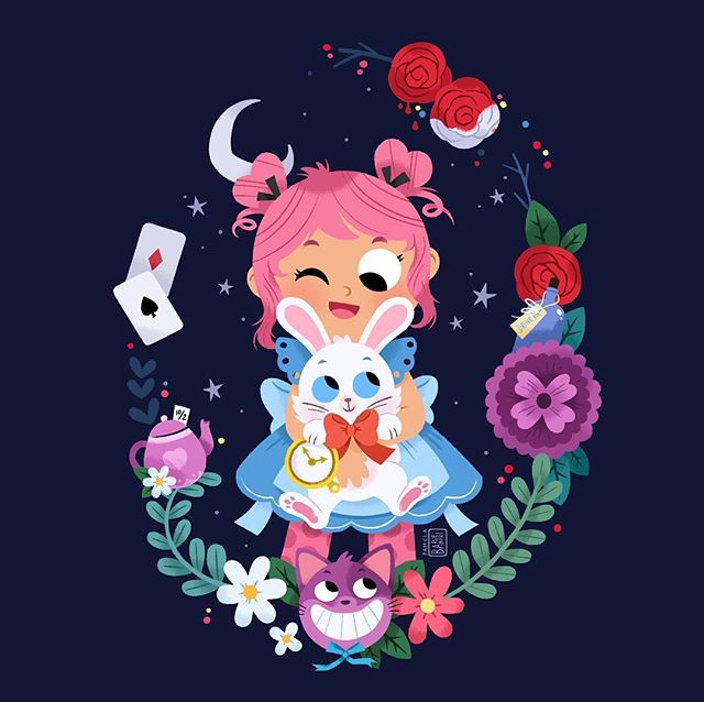 So... I've finally have the time do a quick post after (almost) 2 months! I've been working non-stop since January so it's great to have some time to do a personal piece for a change! 💪 But enough talk! Here is an updated version of a (very) old Alice in Wonderland illustration. The color palette has been totally changed, but a really similar composition has been kept! Let me know your thoughts about this illustration! 💖💖💖 #drawing #art #illustration #childrensillustration #kawaii #Alice