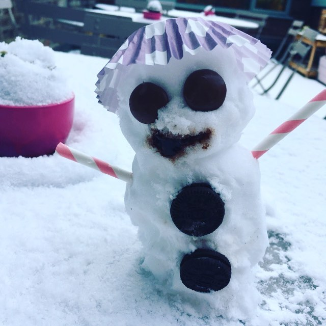 Open today (so far!) got coffee, cake & a good old natter about the weather 😉 #snowman #tinysnowman #cafe #open #snow #oswestry #shropshire #coffee #cake #tea #treat