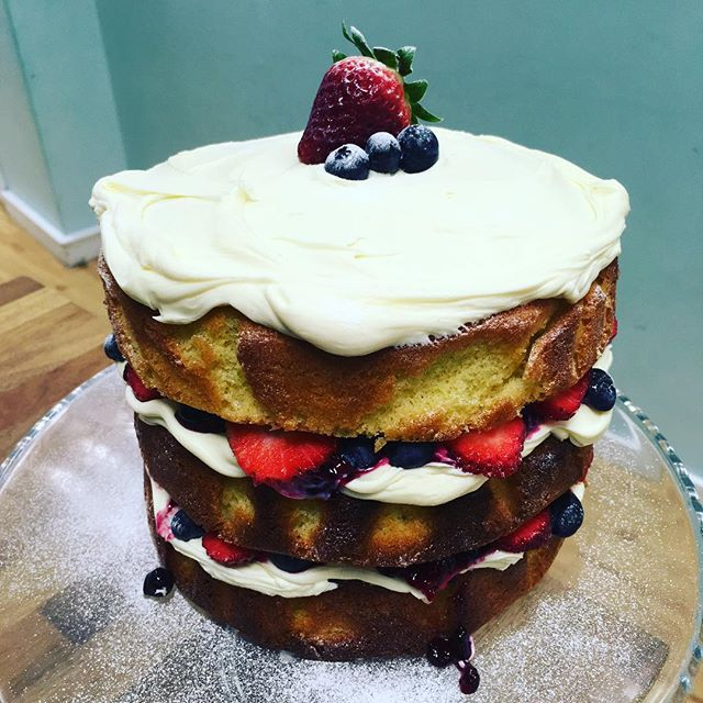 Classic Victoria in - looking delicious this morning #nomnom #victoriasponge #classic #oswestry #cafe #cakestagram #fresh #strawberries #blueberries #homemade #create #bake #make #shropshire
