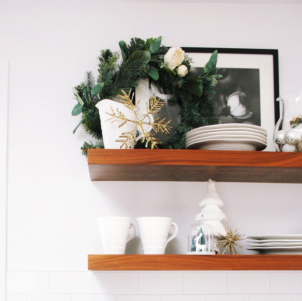 floating shelves christmas styling