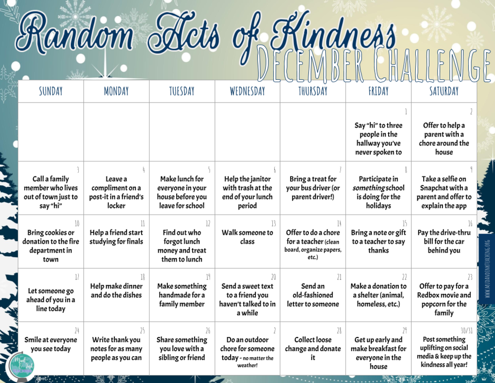 Random Act of Kindness December Calendar.png
