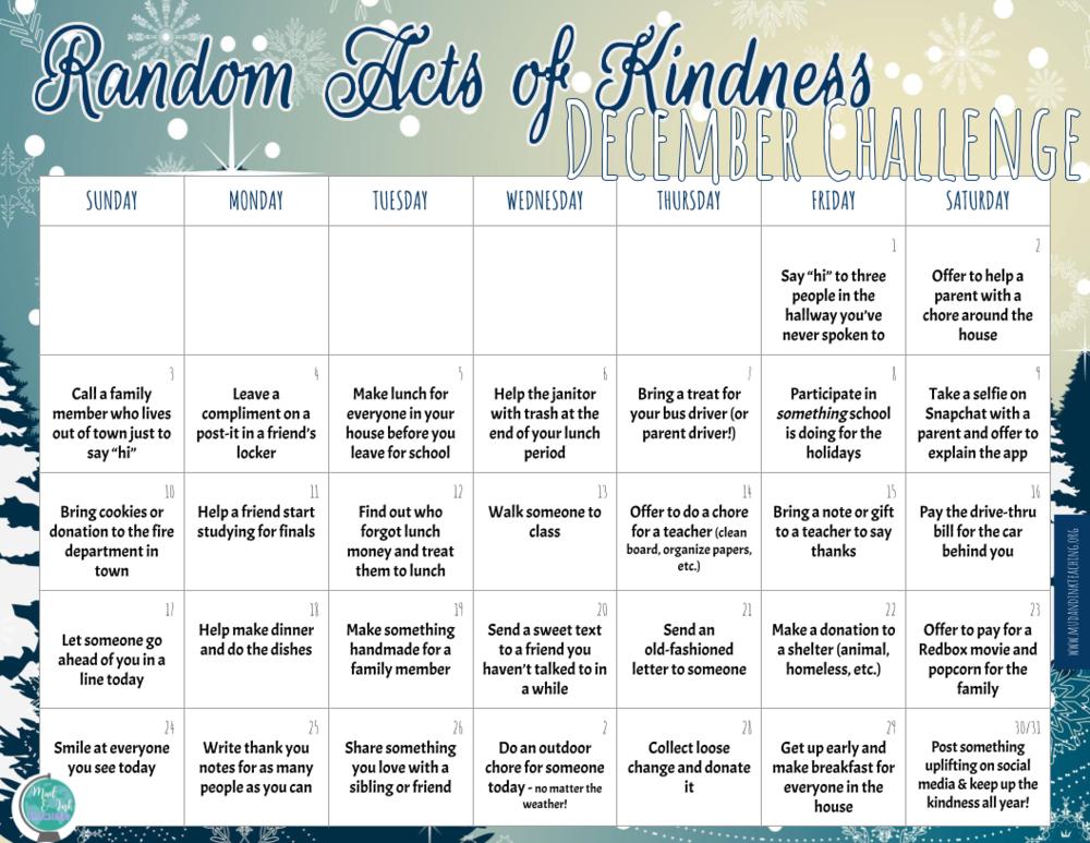Random Act of Kindness December Calendar.png