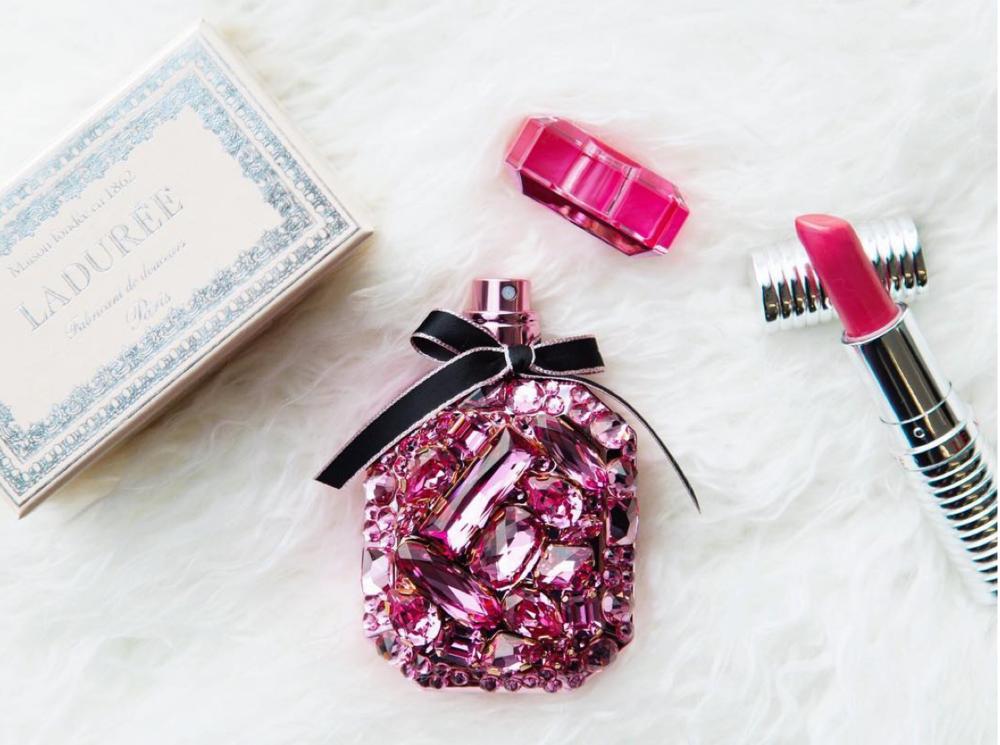 https://www.instagram.com/allure/ featuring Victoria's Secret bejeweled perfume bottle.