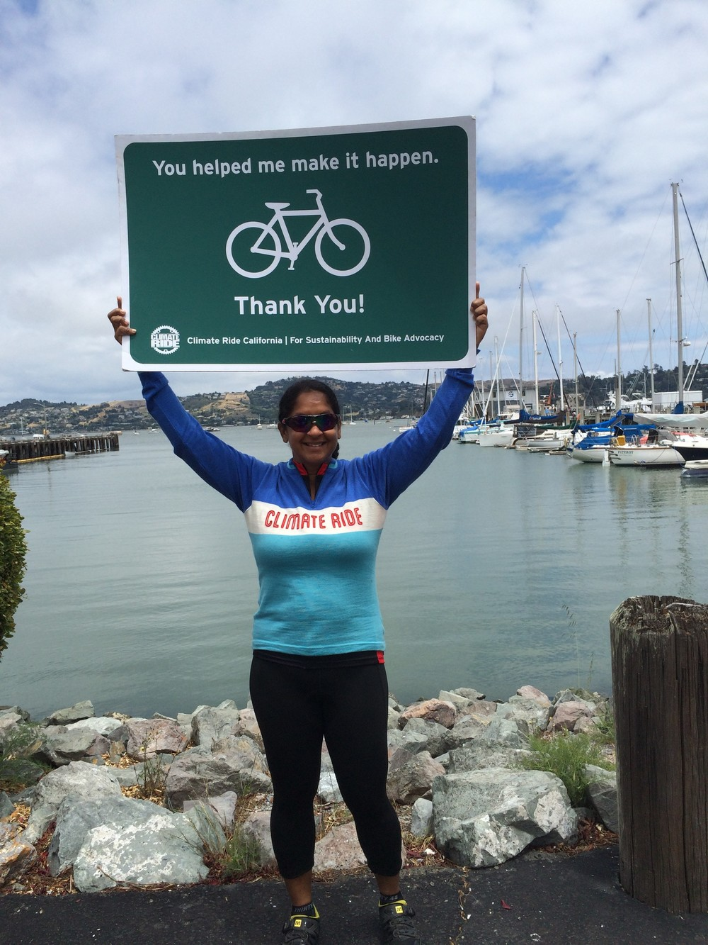 Shamini Dhana thanking her supporters and those who provided donations to her 2015 California Climate Ride initiative