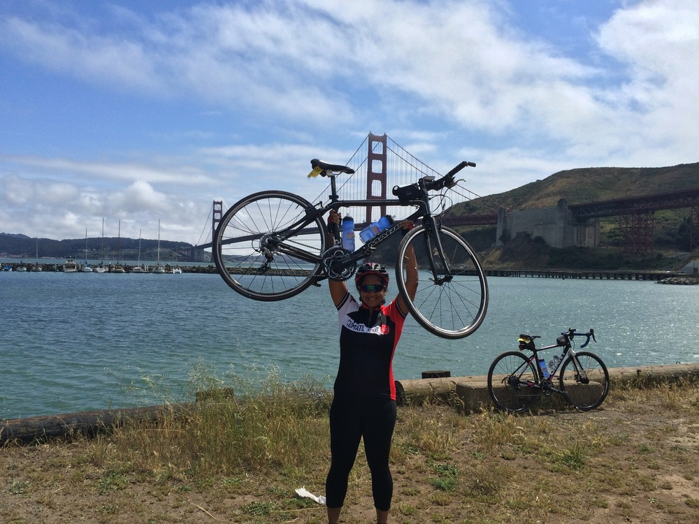 Shamini Dhana at Mile 102 on the California Climate Ride