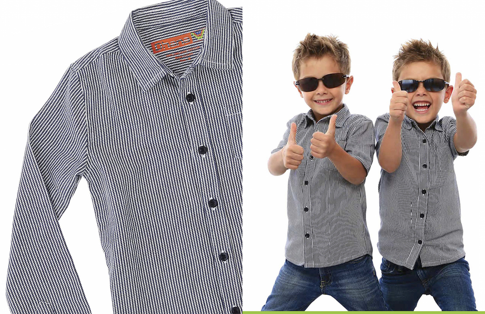 Cool denim striped boys' shirt, sunglasses (Dhana collection 2016)