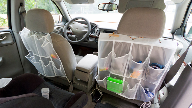 One shoe divider runs for about 9 dollars. (Cut it in half and you have enough room for both seats)