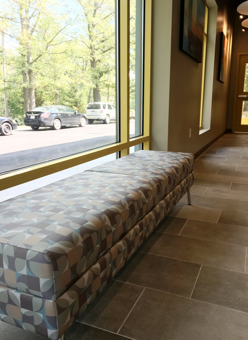 WIND Linear 2 Seat Bench with Banister Matter Grade 12 Vinyl Fabric