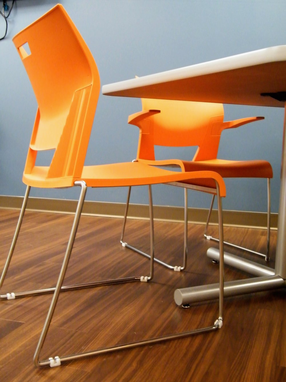 Orange Duet Chairs with Gliders