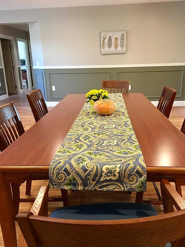 Laminate Top Table in Wild Cherry and Schoolhouse Chairs
