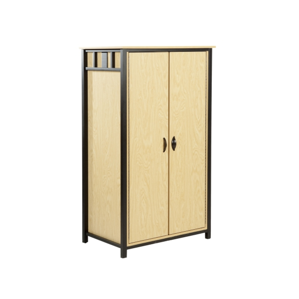 "Room Mate Double Drawer wardrobe - this end up  Laminate One (1) hanger bar behind  left door, Two (2) doors, 5 Interior adjustable shelves - 16 1/2"" w x 19 1/2"" deep"