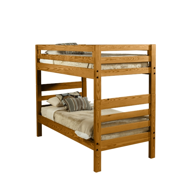 Classic Ladder End Bunk Bed  includes two headboards, two footboards, two side rails , two double guard rails with guard rail safety straps and  four solid steel alignment pins to provides the safety and stability you expect! All bunk beds meet the voluntary bunk bed safety guidelines established by the American Society of Testing and Materials.  Available in Twin and XL twin, with a solid end or as a loft