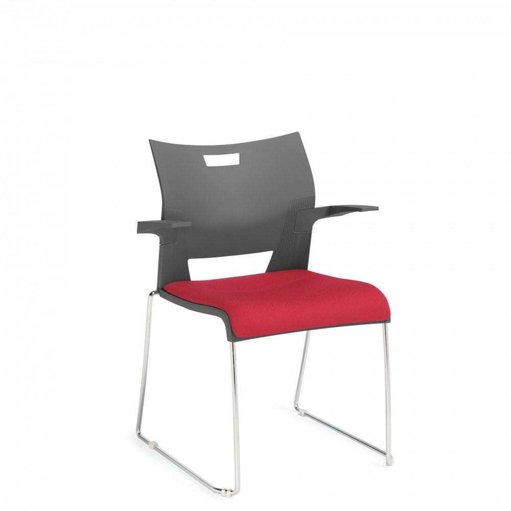 Duet arm chair with padded seat