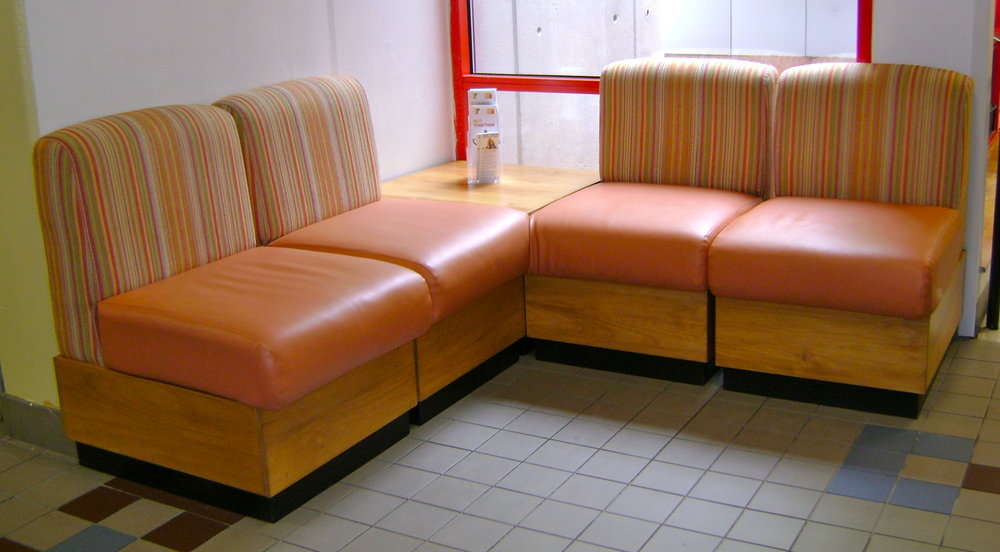 contract modular seating with two fabrics (YMCA)