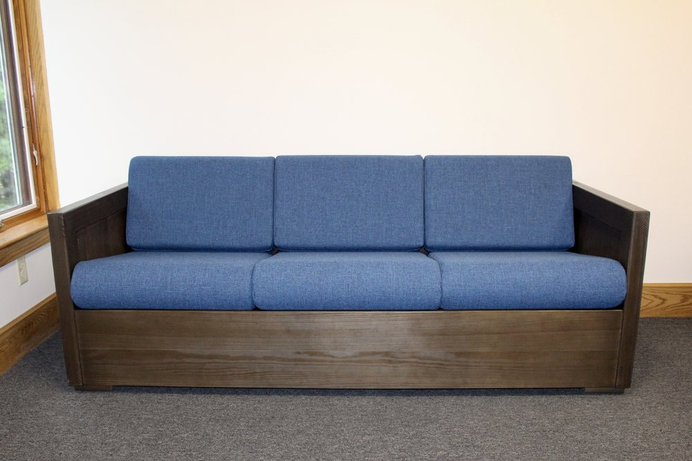 Classic sofa (list $708) in espresso with sherpa navy fabric cushions For Behavioral Health and Education Agency (View website)