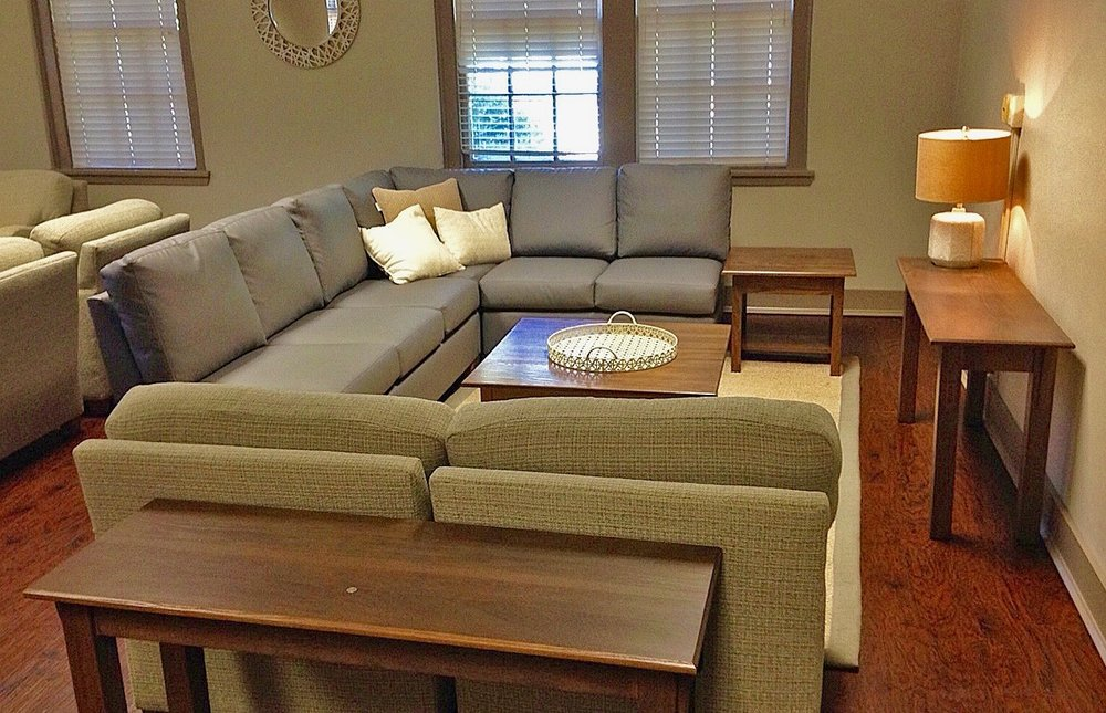 saugus sectional with mission tables