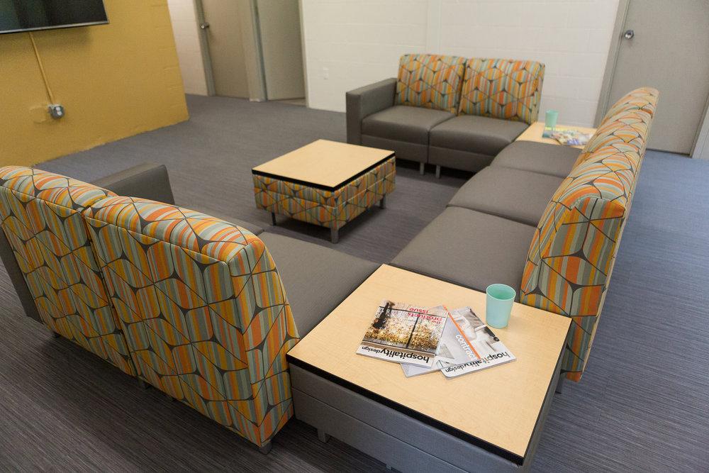 network modular seating, university dorm common area