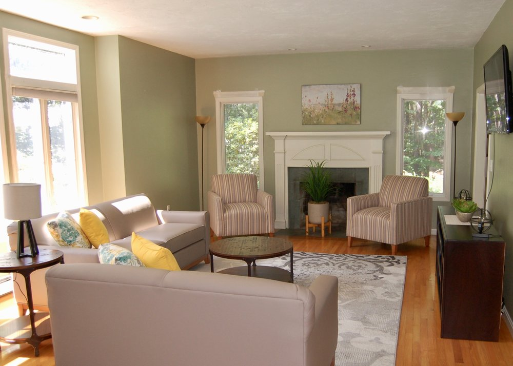 Whitney sofa and loveseat with larchmont chair, residence for adults living with autism
