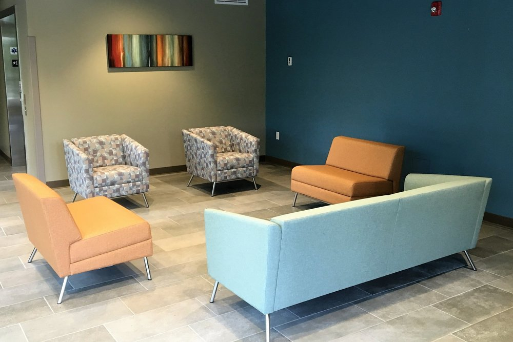 WInd UPHOLSTERY in galary/lobby area