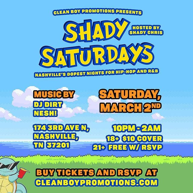 Our first Shady Saturday's! @theshady.gang 🌴😎| This will be the littest weekly night for Hip Hop and R&B 😎| We have @presidentdirt and @neshwho who have been killing it for us at every event 😤 don't miss this! 🌴😎