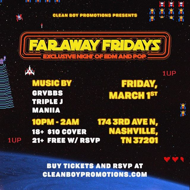 See y'all here tonight! 🌍 Our First @farawayfridays with @grvbbsofficial , @triplejnashville , and @__maniia ⚡️⚡️ Come through!!