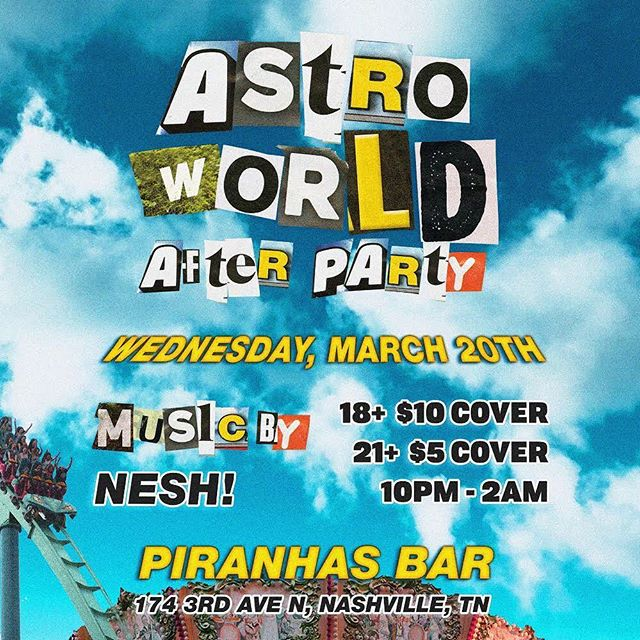 We're having the littest ASTRO WORLD AFTERPARTY🚀🌎 who's ready to see @travisscott in Nashville ⁉️