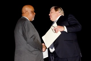 State Democratic Party Chair Bobby Moak greets Congressman Thompson