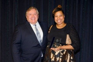 Chairman Moak with Deana Jackson, who accepted the Fannie Lou Hamer Award on behalf of her mother, Alice Tisdale