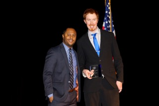 John Delpergang (left) received the Young Democrats Award from Marcus Williams, State President of the Mississippi Young Democrats