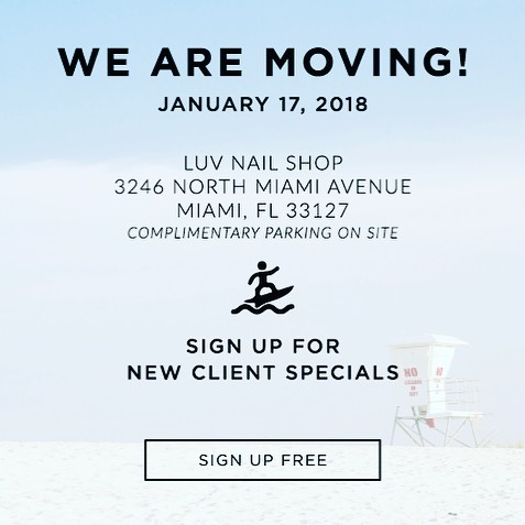 Please join us this Thursday 18th at our new Pop-Up location @luvnailshop We will be offering complimentary tightening facials and champagne 🥂to all our clients that come by to say hi 👋 to our Clean Lines Crew *We will be closed 1/17 for moving
