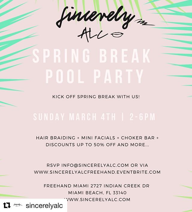 #Repost @sincerelyalc (@get_repost) ・・・ Tomorrow's the day! Kick off spring break at the @freehandhotels for an event you don't want to miss! 2-6pm ☀️🌴 #sincerelyalc