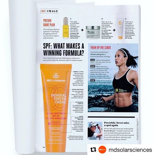 #Repost @mdsolarsciences  amazing @selfmagazine feature.  Mineral Tinted Crème SPF 30 perfects + protects + can keep up with you no matter what. Shop now #workout #fitfam #spf #beauty #healthyliving #miamibeach #daylightsavings #sunshine