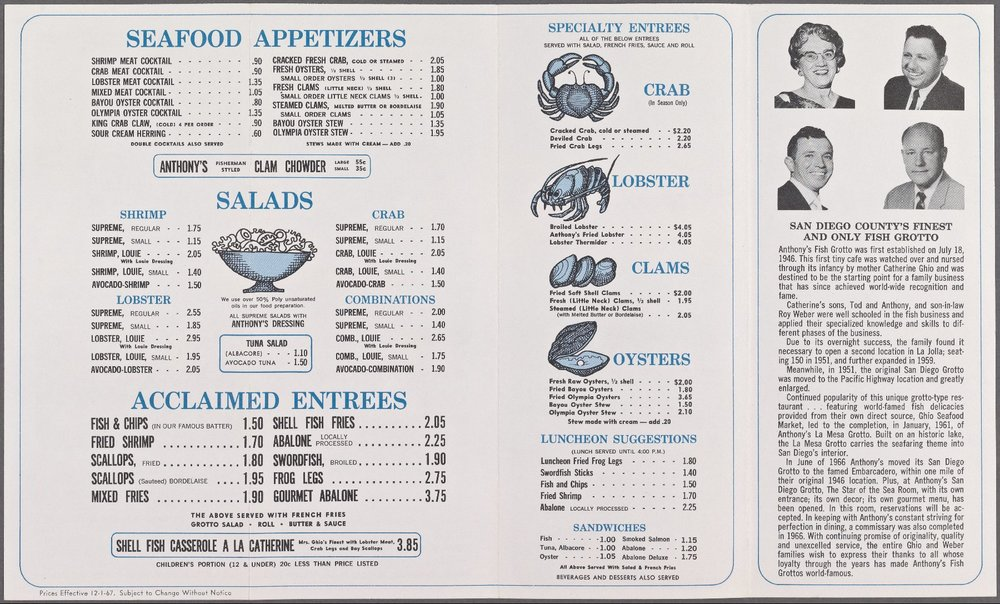 An old menu from Anthony's Fish Grotto Circa 1967 Courtesy of The New York Public Library. http://menus.nypl.org/menus/26997/explore
